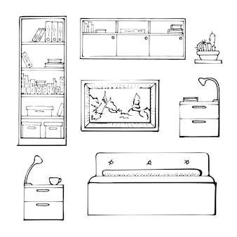 セットの隔離された家具をスケッチします。白い背景の上の線形の黒い家具。ベクトルイラスト