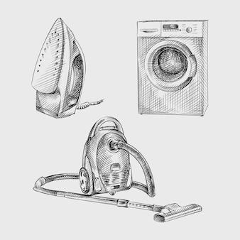 Эскиз набор рисованной бытовой техники. комплект состоит из утюга, стиральной машины, пылесоса