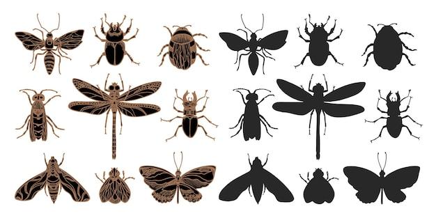 곤충의 스케치 세트. 낙서 그림