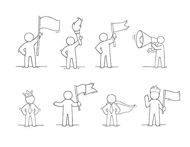작업 리더의 스케치 세트입니다. 권력에 대한 귀여운 개념을 낙서하세요. 비즈니스 디자인을 위한 손으로 그린 만화 벡터 일러스트 레이 션.