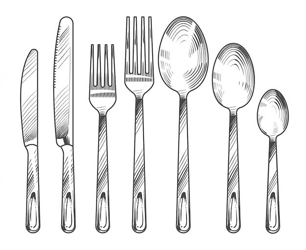 은색 칼, 포크 및 숟가락을 스케치하십시오.