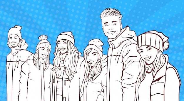 Sketch smiling group of young people wear winter coats and hats over colorful retro style background