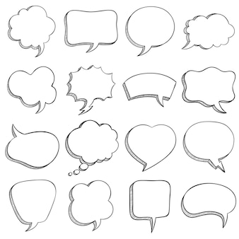 연설 거품을 스케치합니다. 빈 만화 연설은 메시지, 대화 풍선 및 구름에 대해 다른 모양을 만들고, 낙서 스타일 벡터 세트를 설명합니다. 정사각형, 직사각형, 하트 및 구름 모양의 거품