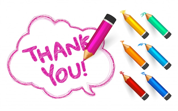 Sketch speech bubble with thank you word with cartoon color pencils