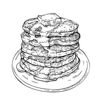 Sketch stack of pancakes with butter and syrup on plate.