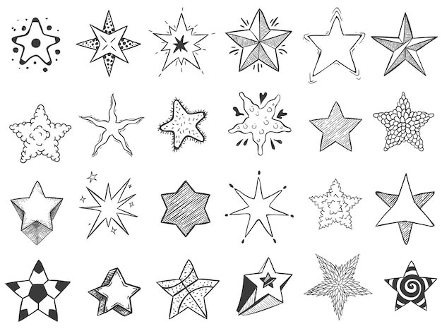 Sketch stars. doodle star shape, cute hand drawn starburst and rating stars