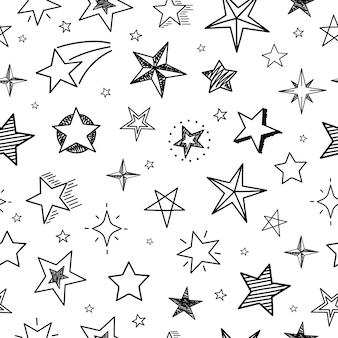 스케치 별 완벽 한 패턴입니다. 손으로 그린 그런 지 별이 빛나는 하늘. 낙서 섬유 인쇄 벡터 기하학적 인 텍스처
