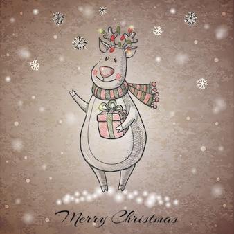 Sketch style hand drawn christmas deer