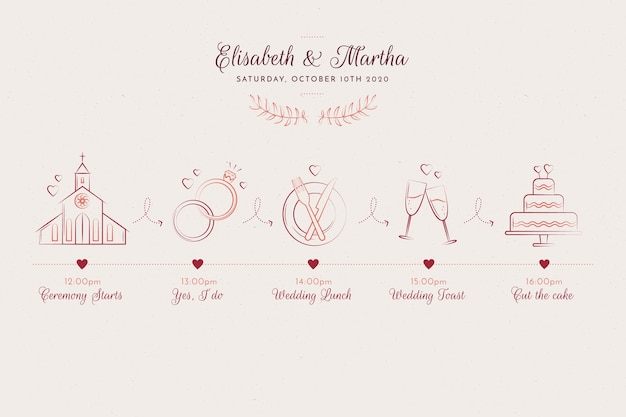 Sketch style hand drawn wedding timeline