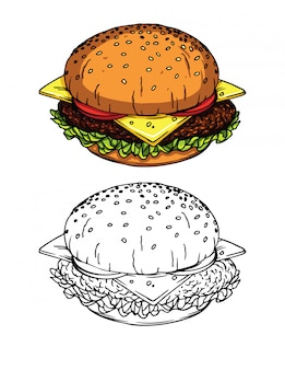 Sketch style illustrations of a fresh burger with cheese, tomatoes, salad and meat