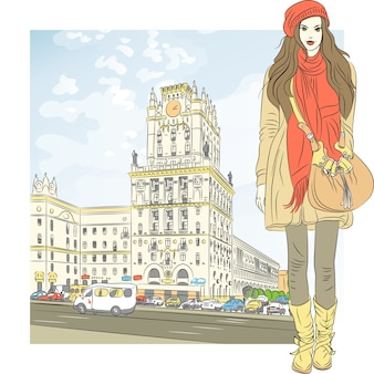 Sketch of a stylish girl  in the city-center