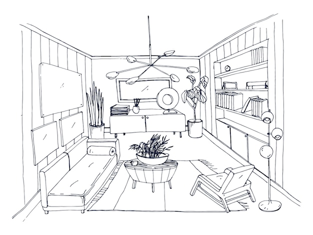 Sketch of stylish living room full of furnishings hand drawn with contour lines. monochrome drawing of apartment furnished in scandinavian style. modern home interior design. illustration.