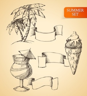 Sketch summer set of palm ice cream and cocktail with ribbons isolated vector illustration