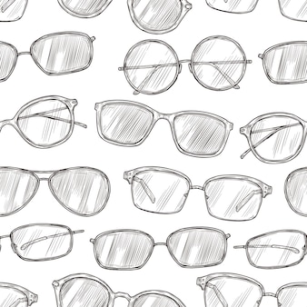 Sketch sunglasses seamless pattern. hand drawn beach glasses 80s retro vector texture. illustration sunglasses and glasses sketch pattern