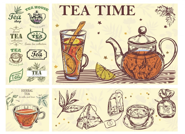 Sketch tea time colorful concept with glass cup teapot of beverage herbs bags and tea labels
