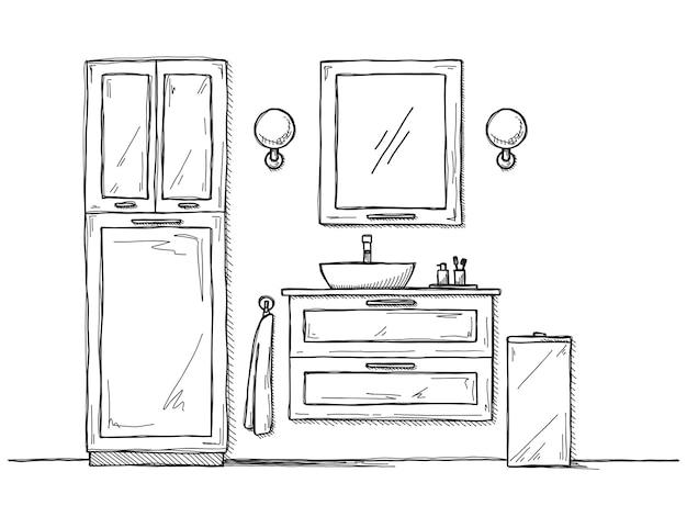 욕실을 스케치하십시오. 욕실 가구와 세면대.