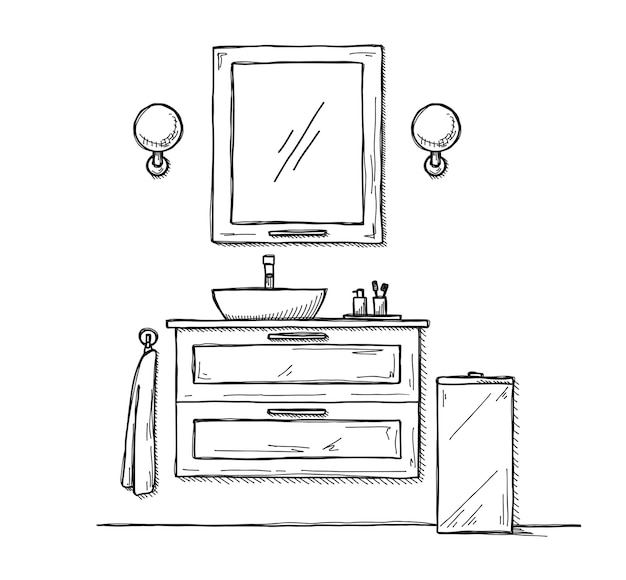 バスルームをスケッチします。バスルームの家具と洗面台。