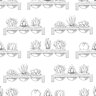 Sketch of three succulents in pots on a wooden stand. style.seamless pattern.