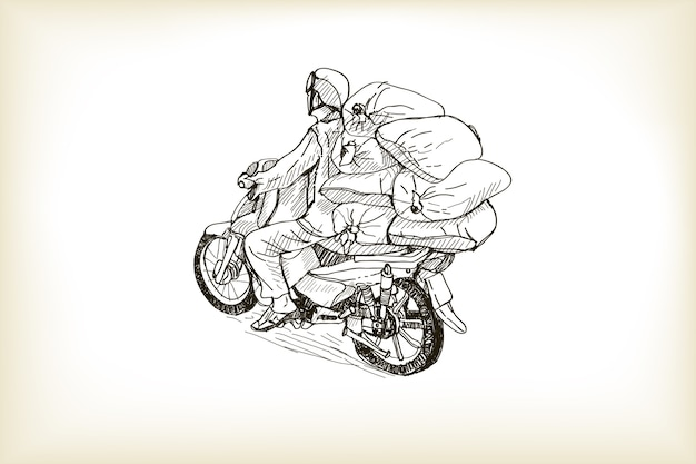 Sketch transport of a heavy  load in the street, free hand draw   illustration
