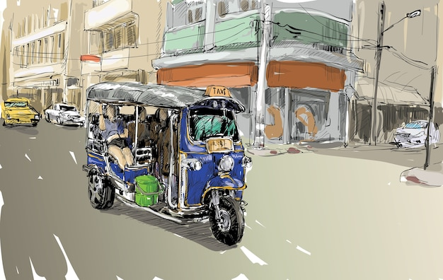 Sketch of transportation city show traditional taxi motor tricycle in thailand, illustration