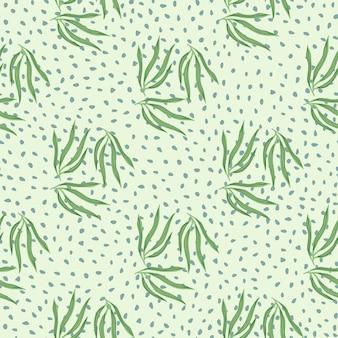 Эскиз тропических листьев semless узор. тропический лист на фоне точек.