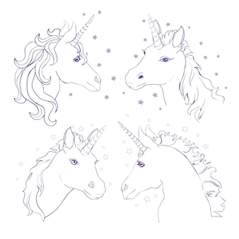 Sketch unicorn hand drawn ink illustration unicorn horse animal white mythical horse head with long horn