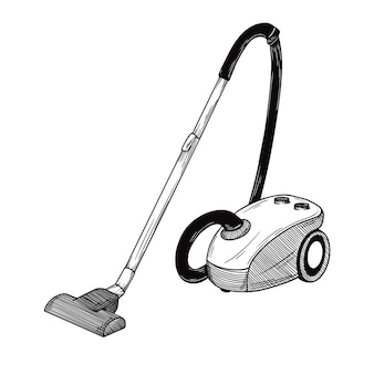 Sketch of the vacuum cleaner on a white background.  illustration in sketch style.