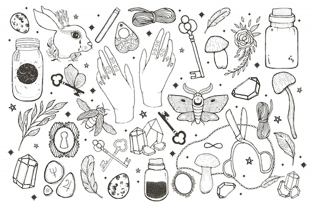 Sketch vector graphic magical set illustration with mystic and occult hand drawn symbols.