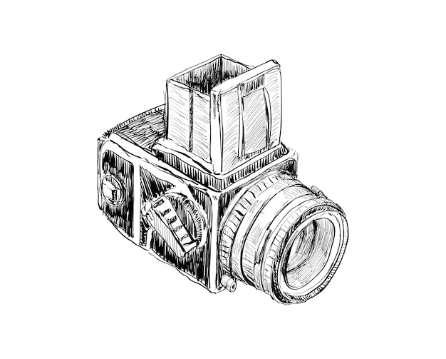 Sketch of vintage camera show outline drawing for decoration of momories