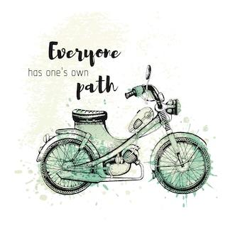 Sketch vintage motorcycle with slogan. black line retro moped