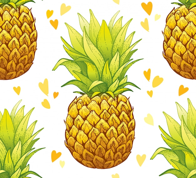 Sketch watercolor pineapple seamless pattern.