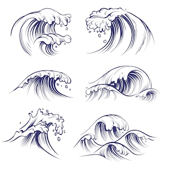 Sketch wave. ocean sea waves splash. hand drawn surfing storm wind water doodle collection
