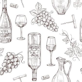 ワインのシームレスなパターンをスケッチします。ワインボトルワイングラスコルクせん抜きとブドウ。ワイナリー、レストランベクトルメニューテクスチャ