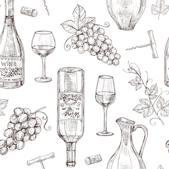 Sketch wine seamless pattern. wine bottles wineglass corkscrew and grape. winery, restaurant vector menu texture