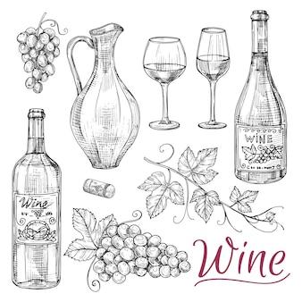 Эскиз винных векторных элементов - бутылки, стаканы, виноград и кувшин