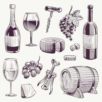 Sketch wine wine bottle and wineglasses grape and cheese wood barrel