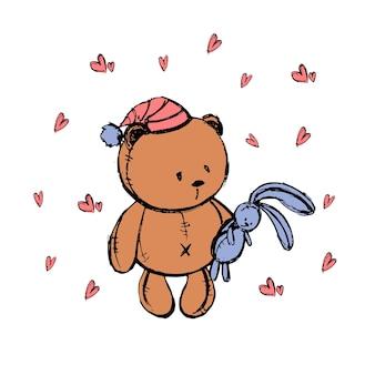 Набросок с мишкой для детской открытки или детских магазинов. векторная иллюстрация.