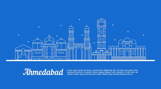 Sketch with linear ahmedabad skyline