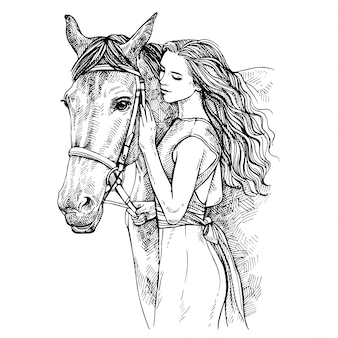 Sketch woman and horse. young woman caressing a horse. beauty with horse. hand drawn ink illustration