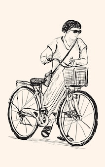 Sketch of a woman walk with bicycle, free hand drawing illustration
