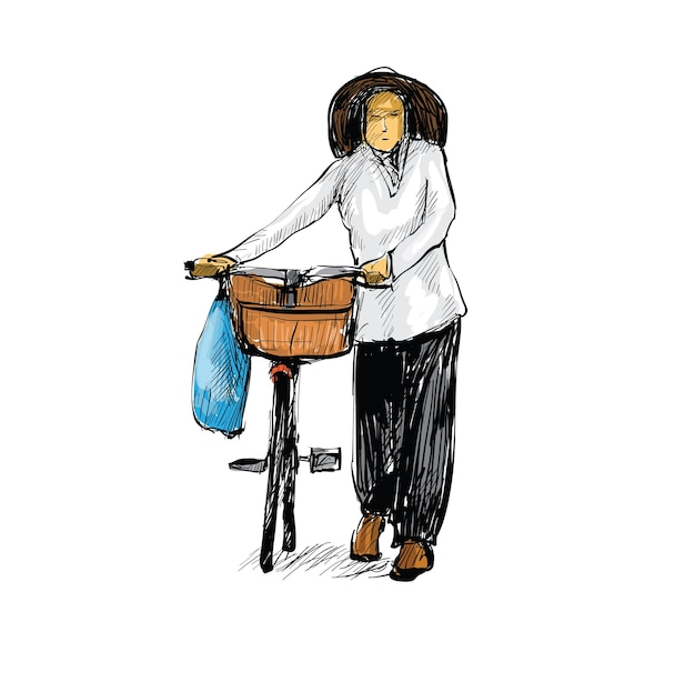 Sketch of woman walking with a bicycle in hanoi vietnam