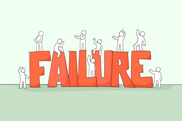 Sketch of working little people with big word failure. vector illustration for business design.