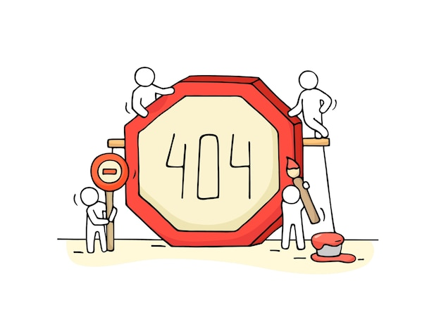 Sketch of working little people with error sign 404. doodle cute miniature scene of workers with web page symbol. hand drawn cartoon for internet design.