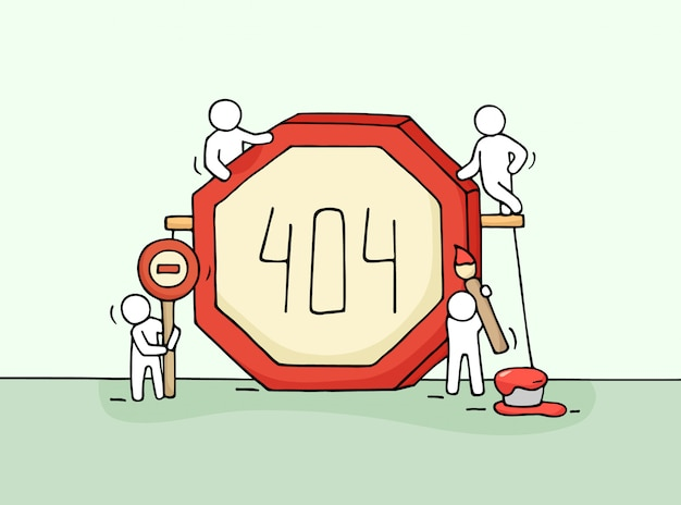 Sketch of working little people with error sign 404. doodle cute miniature scene of workers with web page symbol.