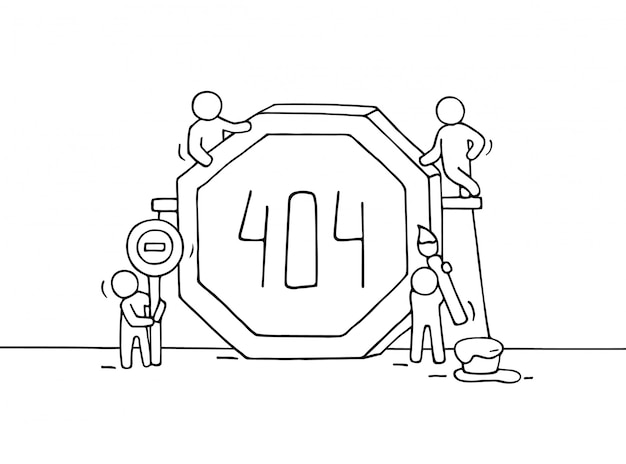 Sketch of working little people with error sign