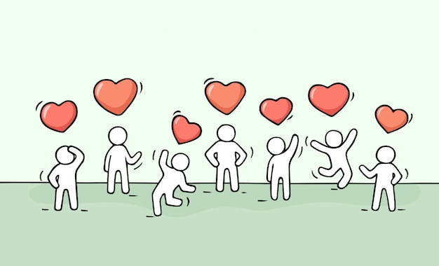 Sketch of working little people with heart signs.