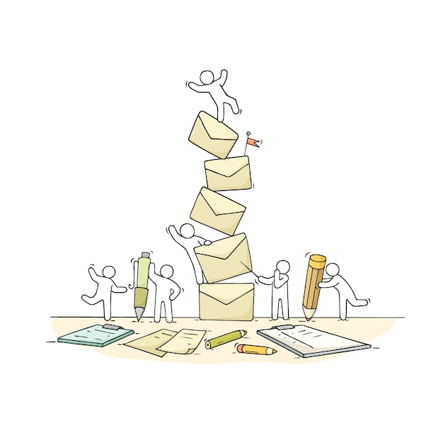 Sketch of working little people with many letters. doodle cute miniature scene of workers about paperwork.
