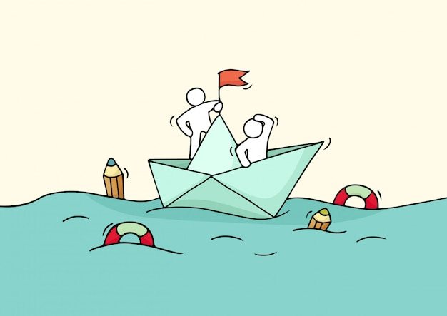 Sketch of working little people with paper boat.