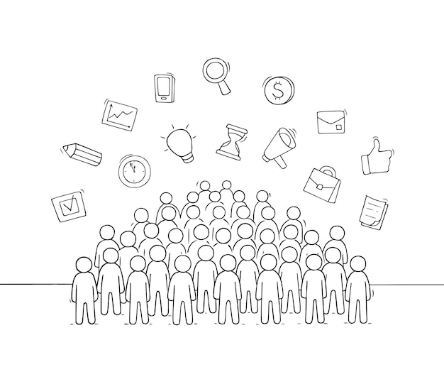 Sketch of working little people with signs. hand drawn cartoon vector illustration for social design.