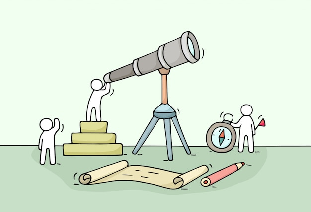 Sketch of working little people with spyglass, teamwork. doodle cute miniature scene of workers discovery something .